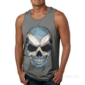 Classic Tanks Scottish Flag Skull Men's Cotton Tank Top Shirt