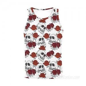 InterestPrint Men's Muscle Gym Workout Training Sleeveless Tank Top Roses Floral Skull