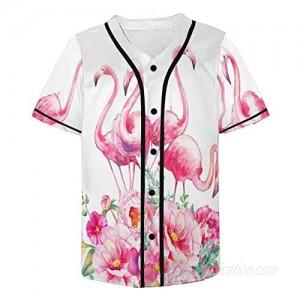 InterestPrint Men's Pink Floral Button Down Baseball Tees