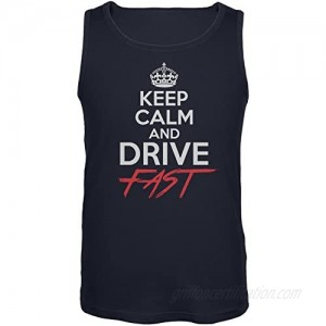 Old Glory Keep Calm Drive Fast Navy Adult Tank Top