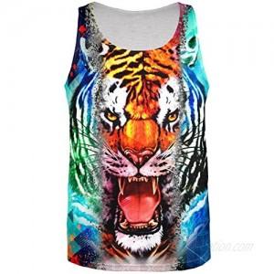 Wild Tiger Splatter All Over Adult Tank Top