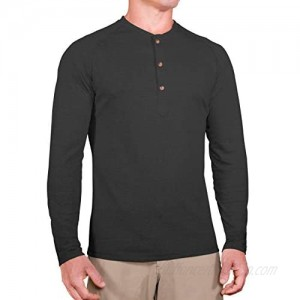 CC Slim Fit Long Sleeve Henley Shirts for Men | Casual Shirts for Men + Stretch