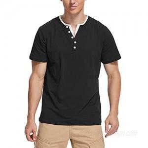 Derssity Mens Summer Fashion Basic Short Sleeve Henley T-Shirt Casual Tops Work Shirts