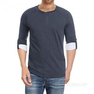 Ebifin Mens Long/Short Sleeve Henley Shirts Casual Cotton Button-Down Shirts Beach Summer T-Shirts