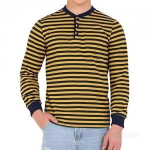 Lars Amadeus Men's Striped Henley Shirt Long Sleeves Slim Fit Button T Shirt Top