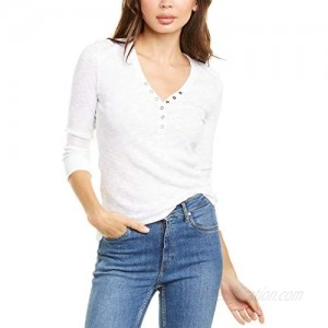 Lilla P 3/4 Sleeve Henley in Ribbed Flame Modal