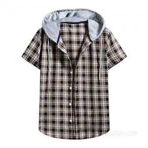 Maryia Linen Henley Hoodies Shirts Casual Short Sleeve Hippie Shirts Fashion Hiking Loose Button Down Sweatwear