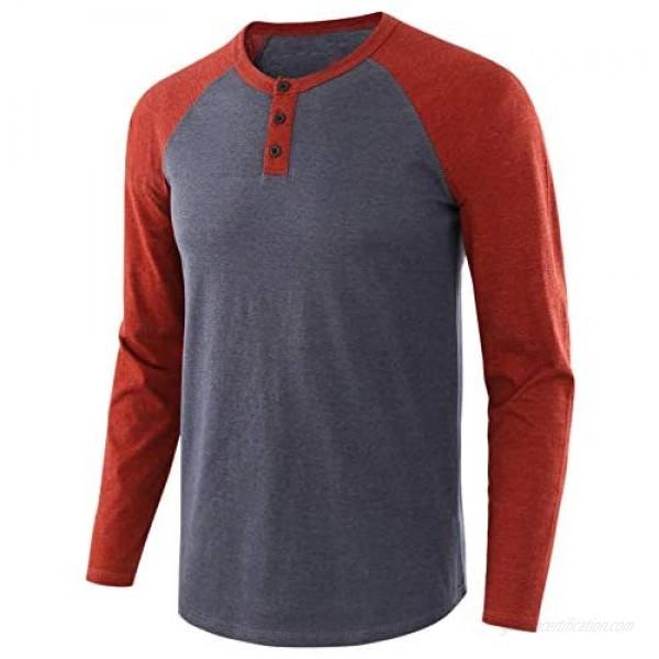 Men's Casual Raglan Henley Shirts- Fashion Long Sleeve Sweatshirts Slim Fit Henley