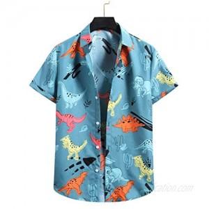 Men's Hawaiian Shirt for Summer Aloha Shirt for Guys Short Sleeve Regular Fit Mens Dinosaur Printed Shirts