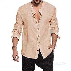 MNCEGEER Men's Cotton Linen Henley Shirt Long Sleeve Hippie Casual Beach T Shirts