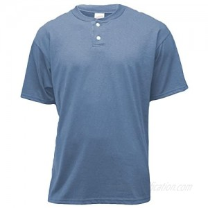 Soffe Men's 2-Button Placket Henley   Columbia Blue   Small