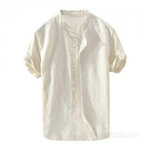 Swyss Mens Linen Shirts Short Sleeve Beach Henley Shirt Button Up Cotton Lightweight Tees Plain Mandarin Collar Tops