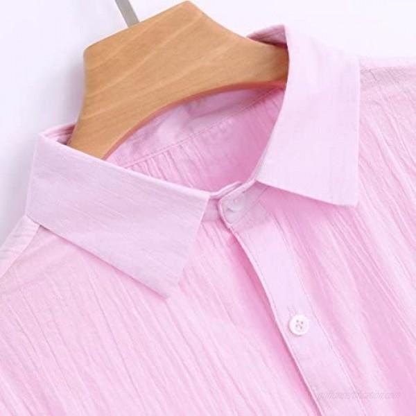 vermers Mens Tops Clearance Mens Long Sleeve Henley Shirt Cotton Linen Beach Yoga Loose Fit Blouse