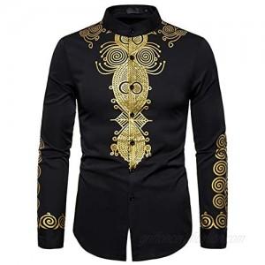 WHATLEES Men's Long Sleeve Luxury Gold Floral Print Henley Shirt African Dashiki Shirt