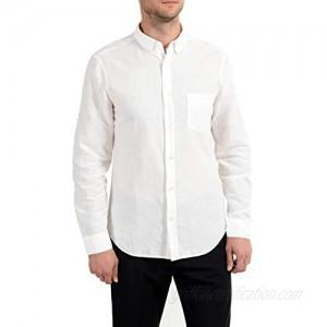 Burberry Brit Men's Linen White Button-Down Long Sleeve Casual Shirt Sz US XL IT 54