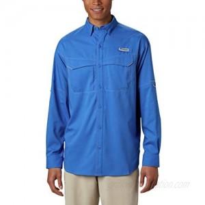 Columbia Men's Low Drag Offshore Long Sleeve Shirt UPF 40 Protection Moisture Wicking Fabric Vivid Blue Medium