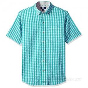 Cutter & Buck Men's Tyler Plaid Short Sleeve Button Down Seersucker Shirt