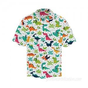 InterestPrint Men's Casual Button Down Short Sleeve Cartoon Dinosaurs Hawaiian Shirt (S-5XL)