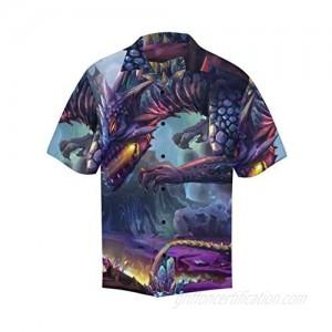 InterestPrint Men's Casual Button Down Short Sleeve Hawaiian Shirt Floral Dragon (S-5XL)