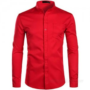 ZEROYAA Men's Banded Collar Slim Fit Long Sleeve Casual Button Down Dress Shirts with Pocket