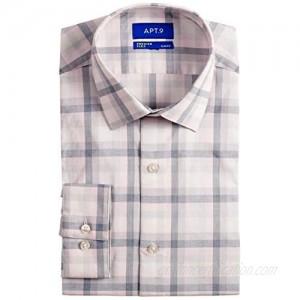 Apt. 9 Slim-Fit Premier Flex Collar Stretch Long Sleeve Dress Shirt Pink Square Plaid