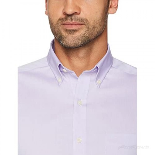 Brand - Buttoned Down Men's Tailored-Fit Button Collar Pinpoint Non-Iron Dress Shirt Purple 19.5 Neck 36 Sleeve (Big and Tall)