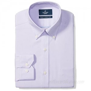 """Brand - Buttoned Down Men's Tailored-Fit Button Collar Pinpoint Non-Iron Dress Shirt  Purple  19.5"""" Neck 36"""" Sleeve (Big and Tall)"""