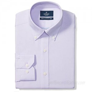 """Brand - Buttoned Down Men's Tailored-Fit Button Collar Pinpoint Non-Iron Dress Shirt  Purple  18.5"""" Neck 36"""" Sleeve (Big and Tall)"""