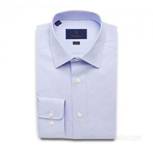 David Donahue Mens Slim Fit Micro Dobby Weave Dress Shirt