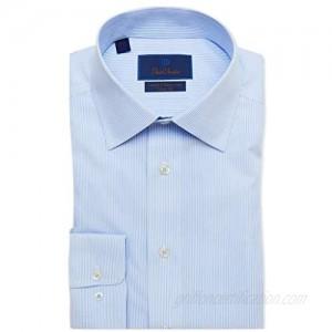 David Donahue Mens Trim Fit Long Sleeve Luxury Non Iron Dress Shirt  White/Blue Fine Line Stripe