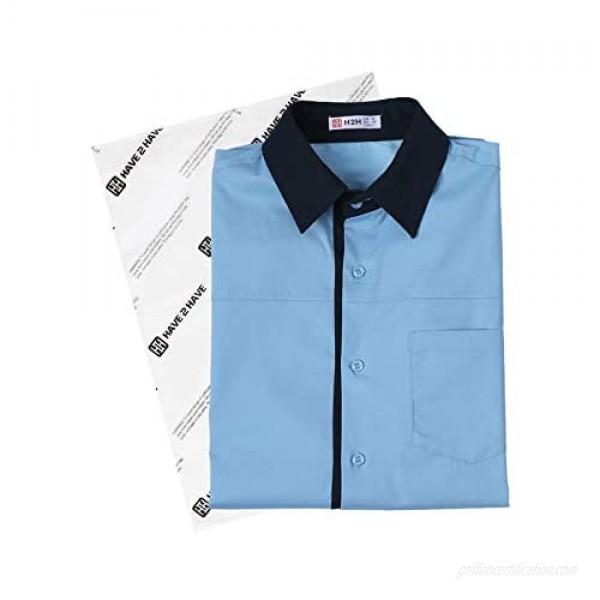 H2H Mens Dress Slim Fit Shirts Short Sleeve Business Shirts Basic Designed Breathable