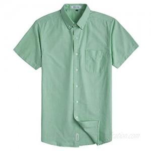 MUSE FATH Men's Casual Oxford Short Sleeve Regular Fit Chest Pocket Dress Shirt