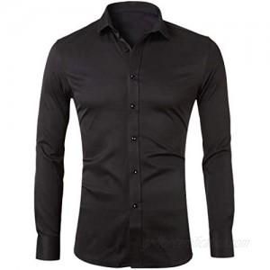 Gergeos Men's Button Down Shirts Casual Business Shirt Long Sleeve T-Shirt Slim Fit Dress Shirts