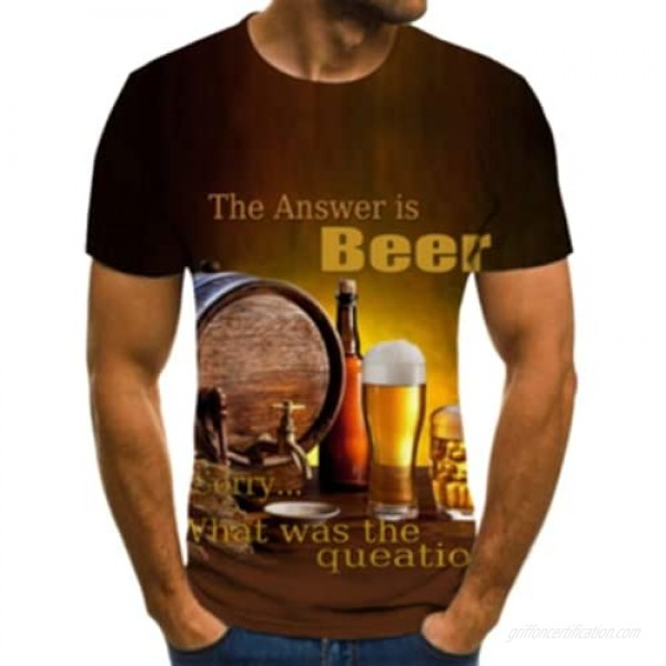 Holatee Men's Round Neck 3D Print Short Sleeve Shirts Funny Beer Graphic Tee Top Summer Casual Blouse