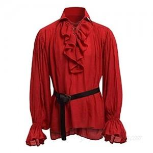 Mens Pirate Medieval Shirts Ruffle Renaissance Costume Tee Halloween Blouse Tees Tops Blouse Pullover Jumper Sweatshirt