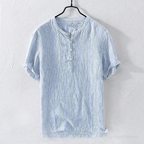 Men's Shirts Summer Short Sleeve Stripe Cotton Linen Breathable Button-Up T-Shirts Tops