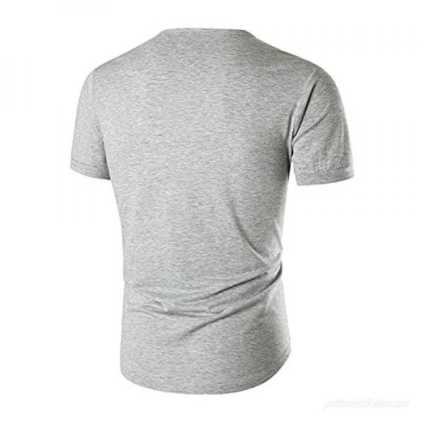 Men's Summer Neckline Fake V-neck Button Solid Color Short-sleeved Crewneck T-shirt Summer Tee Top Casual Blouse