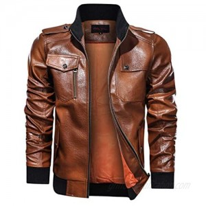 Men's Zipper Up Cargo Jacket Winter Pure Color Stand Collar Imitation Leather Coat Tops Multiple Pockets