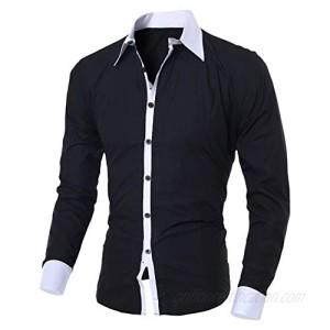 MODOQO Men's Long Sleeve Shirts Slim Fit Button Down Collar Shirt Top for Autumn