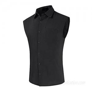 Tantisy Men's T Shirts 2021 Casual Fashion Cotton Linen Cardigan Popular Soft Lapel Sleeveless Button Closure Shirt Tops