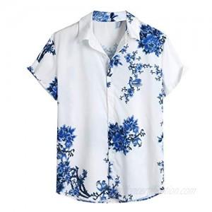Tantisy Mens Tops Loose Tee Shirts Lump Chest Flower Print Short Sleeve Turn-Down Collar Round Hem Button Shirts Blouses