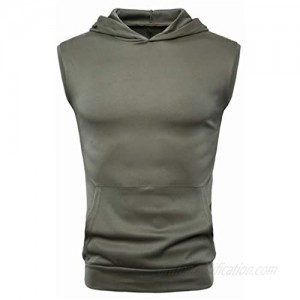 YOCheerful Men's Summer Vests Casual Solid Hooded Sleeveless Sports Tank Tops Yoga Vests Loose Tops