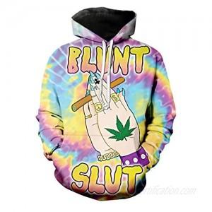 GGmar Retro Blunt Slut Hoodie Trippy Tie dye Weed Leaf Casual Sweatshirt