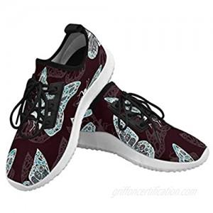 InterestPrint Dolphin Ultra Light Sneakers Women's Running Shoes Meadow Clover Green Leaves