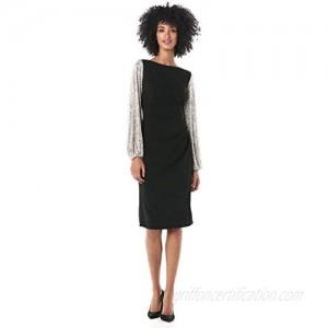 Adrianna Papell Women's Sequin Sleeve Crepe Dress