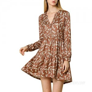 Allegra K Women's Spring Floral Long Sleeves V Neck Casual Babydoll Tiered Dress