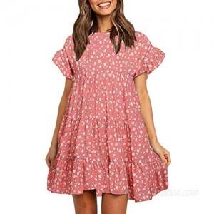 Imysty Womens Boho Floral Printed Babydoll Ruffles Casual Loose Short Mini T-Shirt Dress
