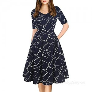 oxiuly Women's Vintage Elegant V-Neck Casual Party Cocktail Swing Dress Knee-Length Work Dress with Pockets OX295