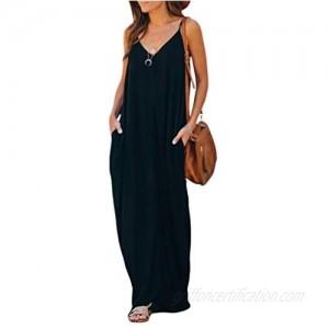Poetsky Womens Casual Strappy V Neck Sleeveless Flowy Pockets Loose Long Maxi Beach Dress Sundress