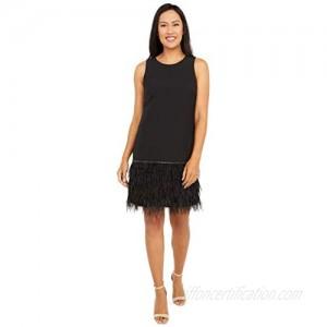 Tahari ASL Women's Sleeveless Round Neck Feather Trim Shift Dress